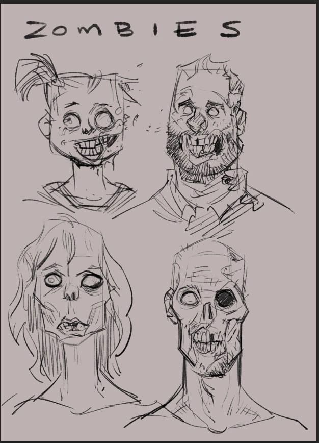 Fun fact: The zombie on the top right is based on Josh, who coincidentally is the spitting image of Ed from  'Shaun of the Dead'.