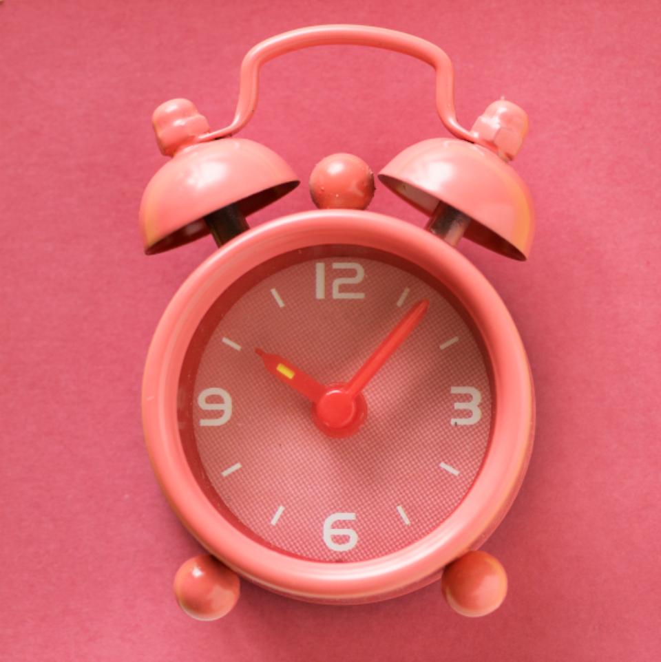 pink clock, time, clock