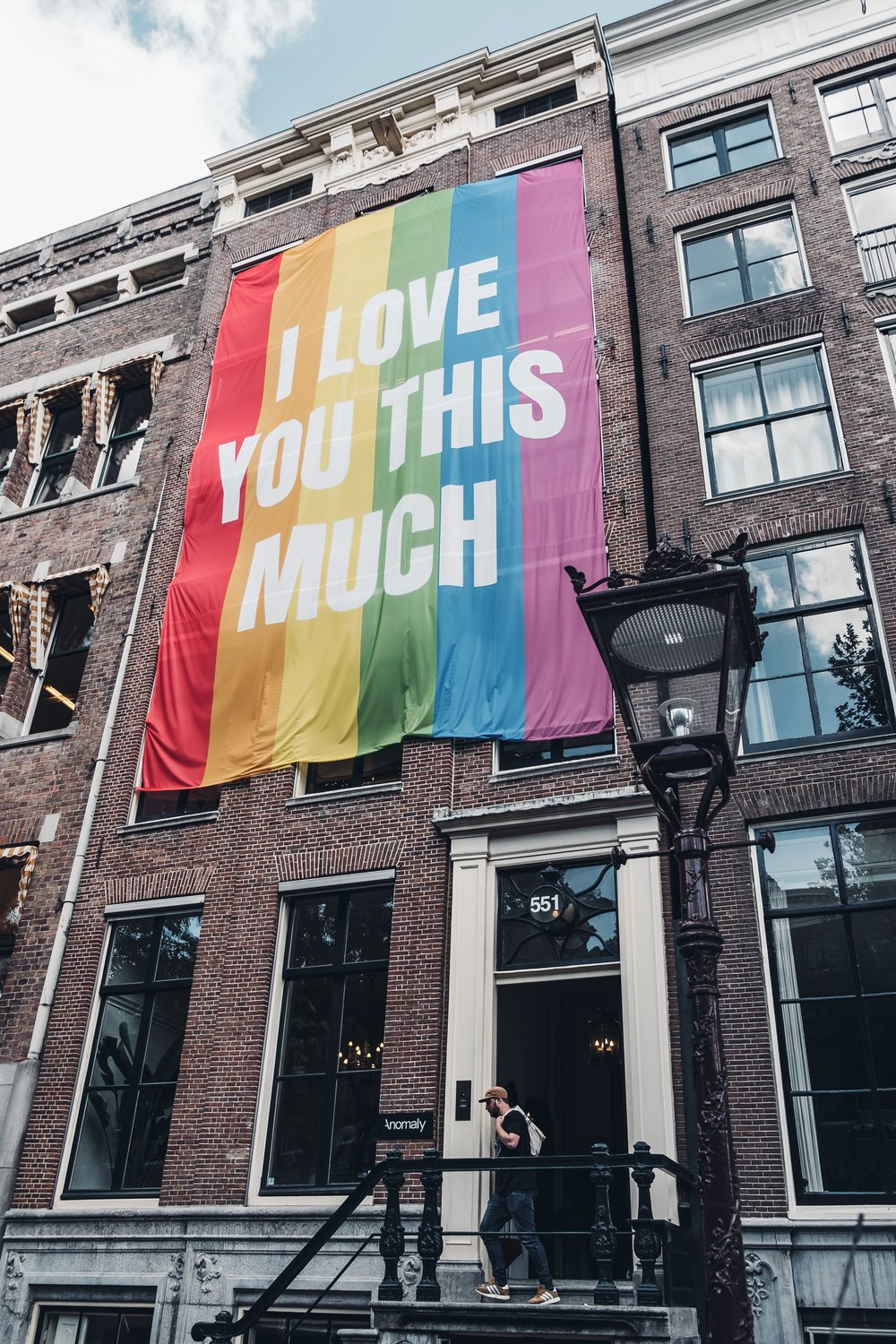 lgbtq, i love you this much flag, building