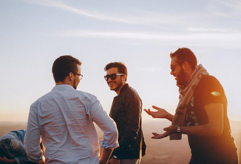 guys talking, guys walking