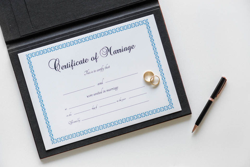 marriage certificate, certificate for marriage