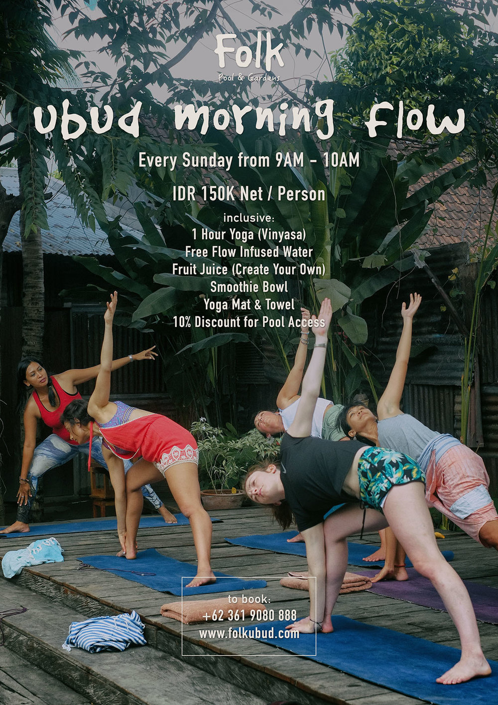 Ubud Flow on Sundays - Get your early Ubud vibe flowing with an hour session led by our Master Yoga facing our cute blue and green oasis.Every Sunday from 9am to 10amIDR 150K net per person with inclusions of 1 hr Vinyasa session, free flow infused water, create your own juice blend, a smoothie bowl, Yoga mat & towel, and a 10% off to swim. Join the session using the button below.