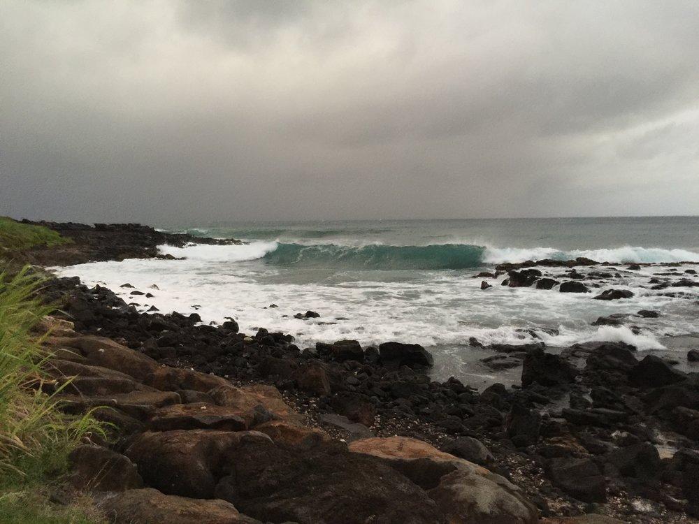 Poipu beach during tropical storm