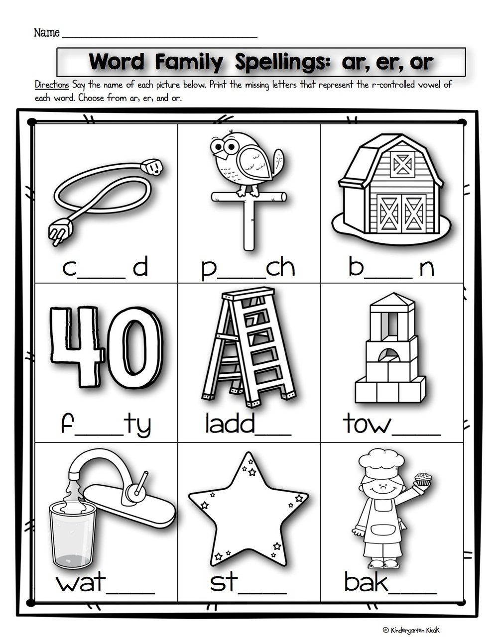Worksheets R Controlled Vowels Worksheet phonics prep bossy r worksheets kindergarten kiosk worksheets