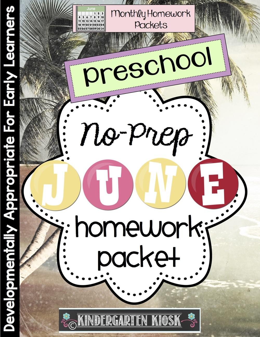 June Preschool Homework Packet  U2014 Kindergarten Kiosk