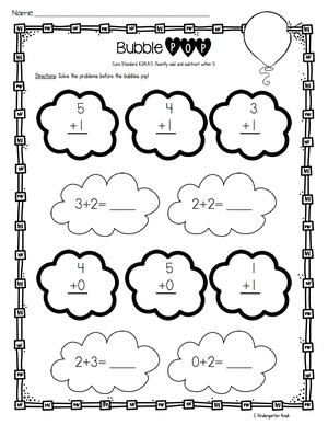 Addition And Subtraction Fluency Worksheets  Kindergarten Kiosk Addition And Subtraction Fluency Worksheets