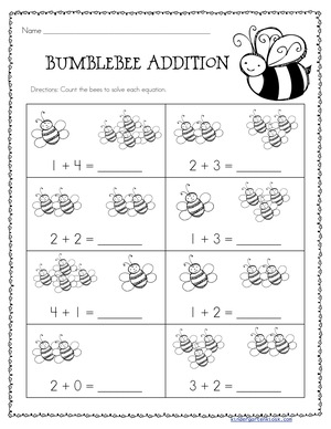 Addition Worksheets: Spring — Kindergarten Kiosk