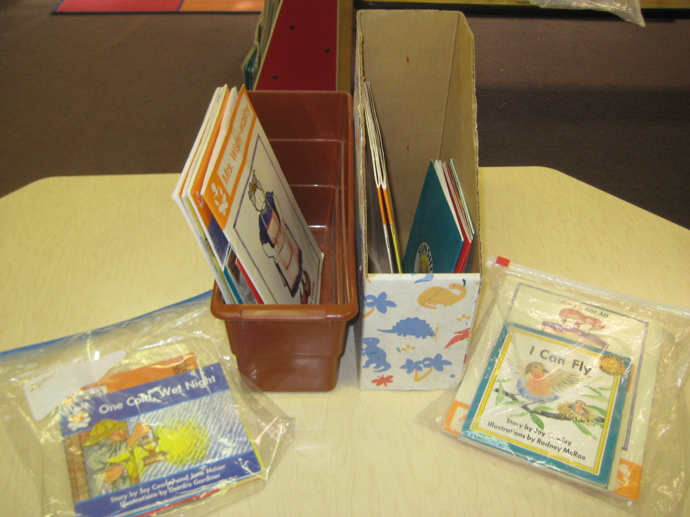 A student's books can be stored in individual tubs, boxes, or zip-lock bags.