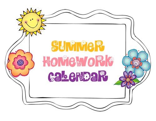 Summer Homework Calendar — Kindergarten Kiosk