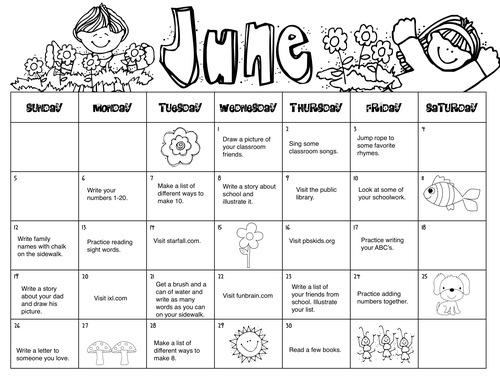 Summer Homework Calendar  Kindergarten Kiosk