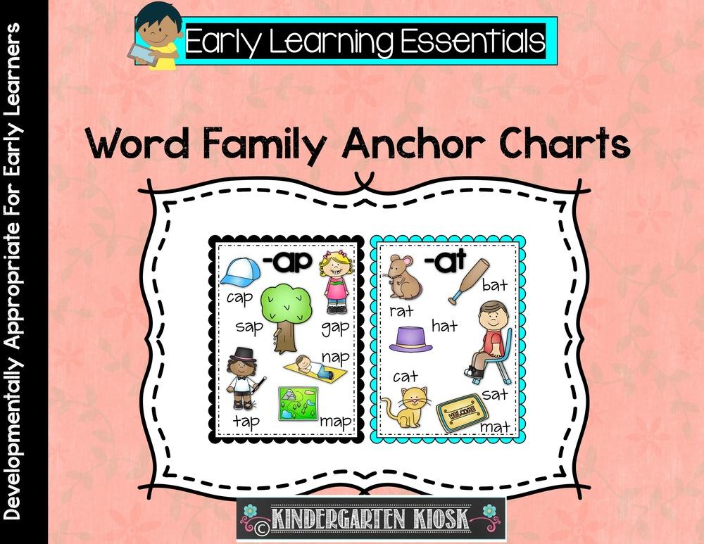 word family anchor charts kindergarten kiosk