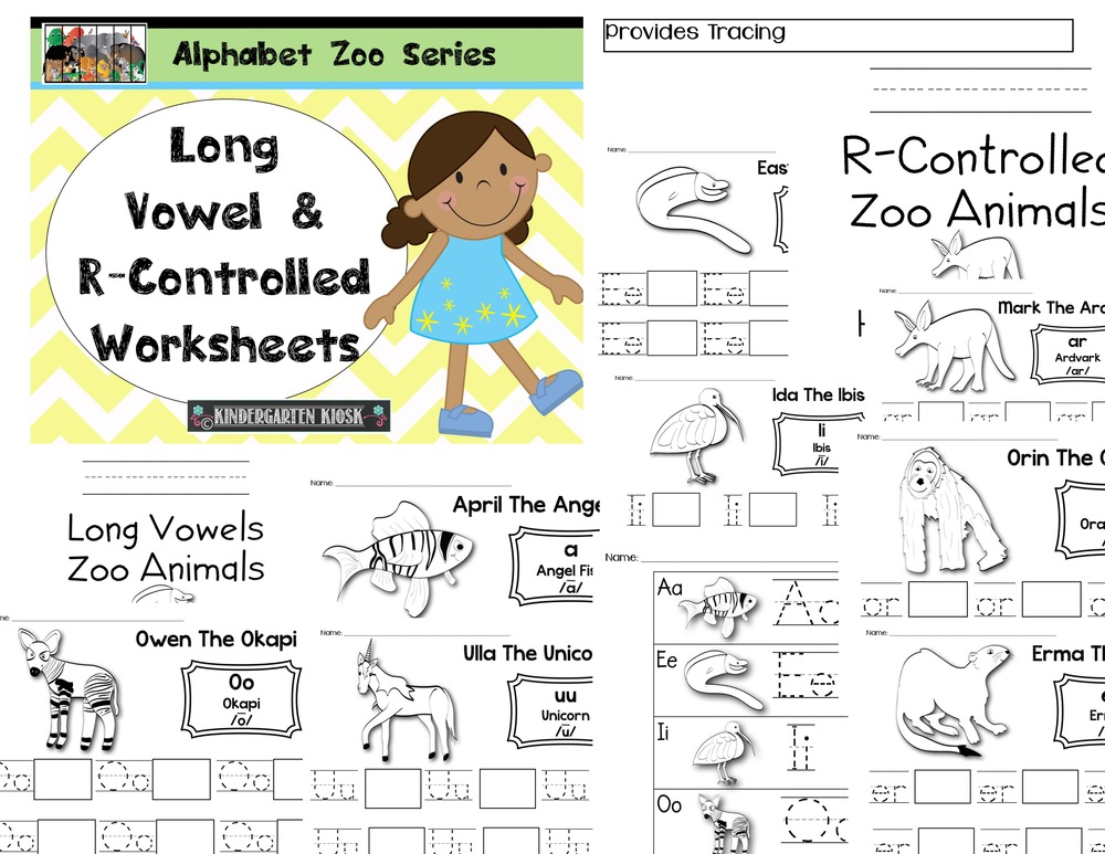 Alphabet Zoo: Long Vowel/R-Controlled Handwriting Worksheets