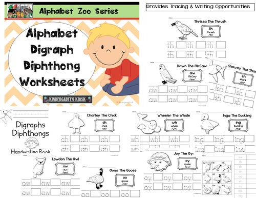 Alphabet Zoo DigraphDiphthong Handwriting Worksheets – Diphthong Worksheets
