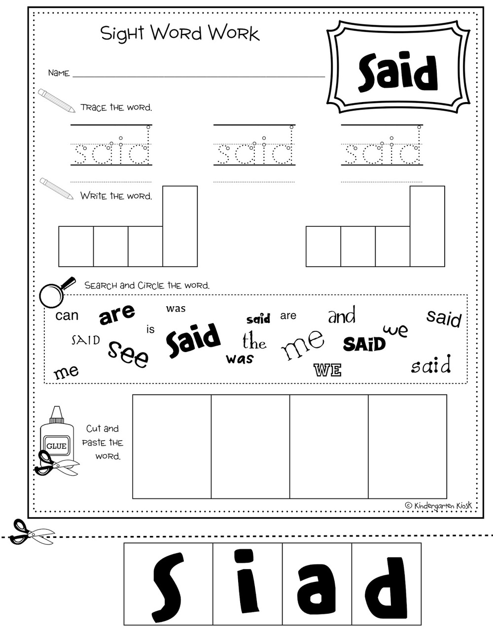 worksheet Sight Words Worksheets For Kindergarten sight word no prep multi task worksheets kindergarten kiosk this product includes 109 words these include the 100 most frequently used as well in