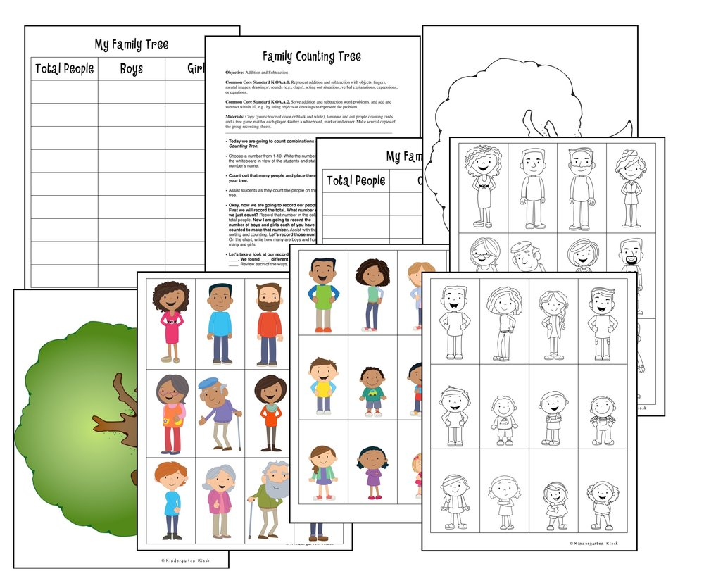 The game Family Counting Tree gives students opportunity to practice beginning addition and subtraction skills in a fun way.