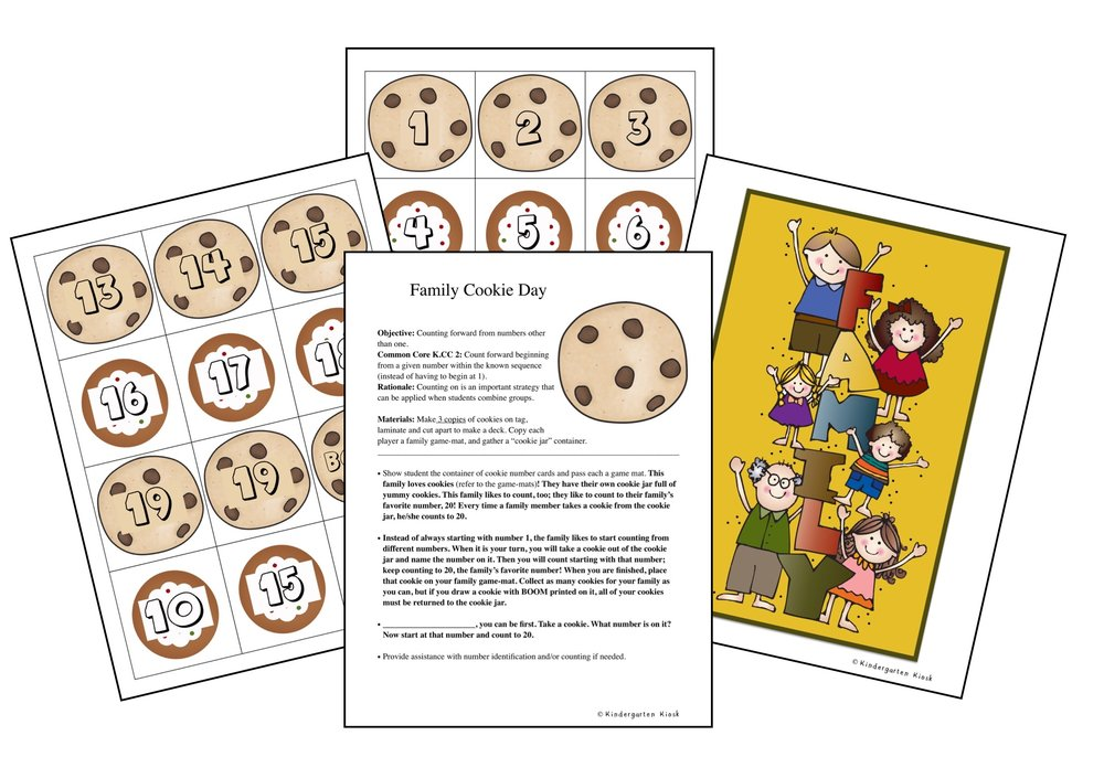 Family Cookie Day gives students practice counting forward from any given number. Counting forward is an important step in learning to add.