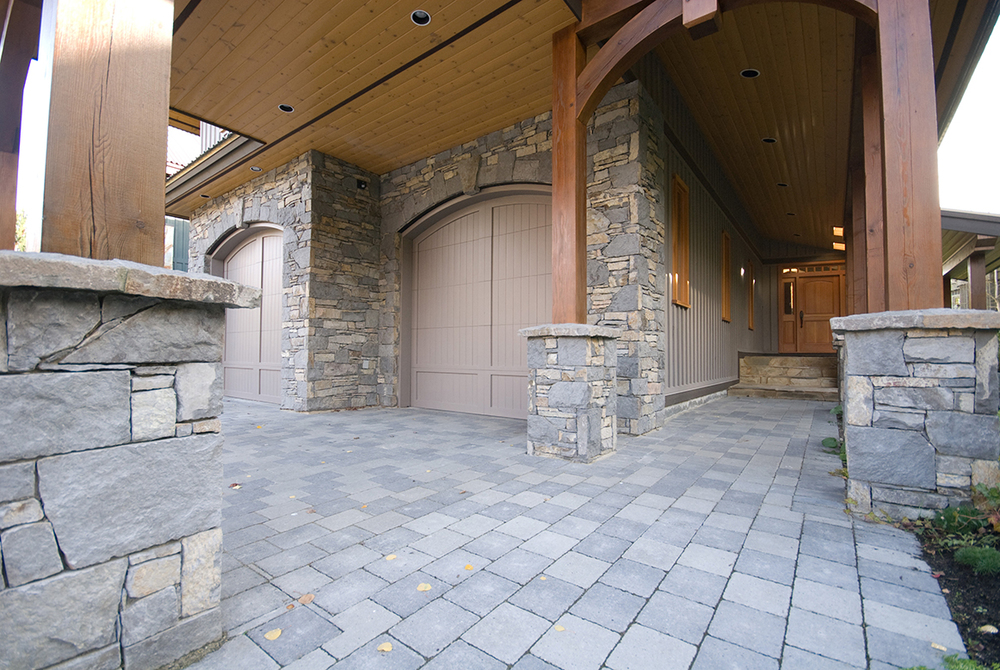 Basalt entryway pillars and exterior, Whistler