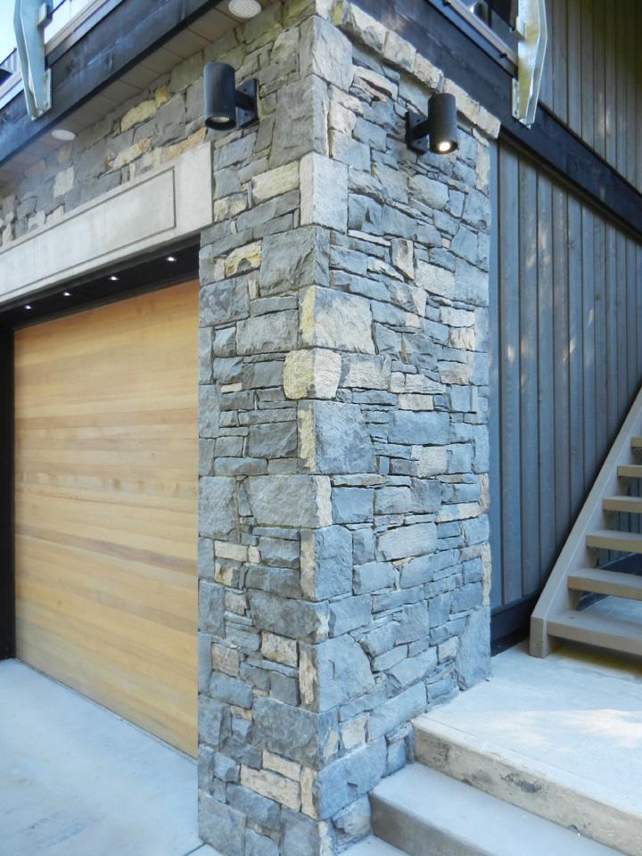 Basalt garage exterior detail, Whistler