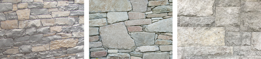 LEFT TO RIGHT:  basalt ledge stone (half natural edge, half snapped edge); Brohm stone; square cut dimensional basalt