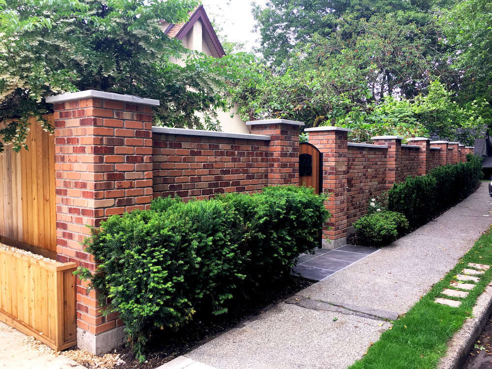 Arbutus Greenway heritage brick enclosure - side detail