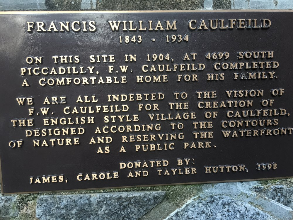 Caulfeild house plaque