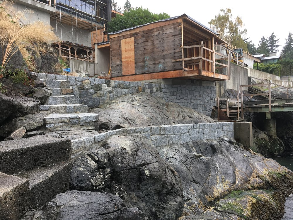 Ocean front retaining wall and stairs