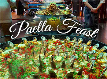 Come and enjoys our famous Paella feasts with Flamenco dancers.