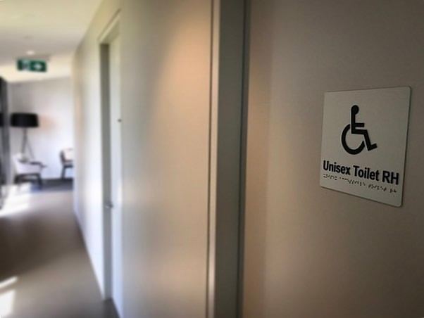 Wheelchair friendly all abilities treatment room and bathroom.