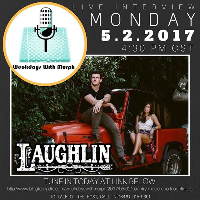 """Doing a little interview later today with Cody Murphy on his show """"Weekdays With Murph!"""" Yall join us, we go live at 4:30 CST! #nashville #laughlin #wkdyswithmurph"""