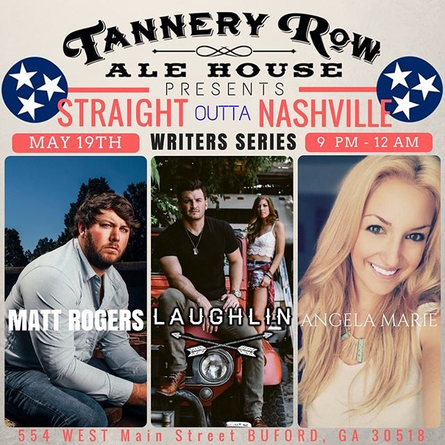 "Oh yea excited to be a part of the ""Straight Outta Nashville"" event tomorrow @tanneryrowalehouse in Buford GA! Also pumped to have our great friends @mattrogerscountry and @a_marieofficial playing with us! If you like hearing the story behind the song, then this is a show you wanna make! #tanneryrow #atlmusic #writersround #straightouttanashville #singersongwriter"