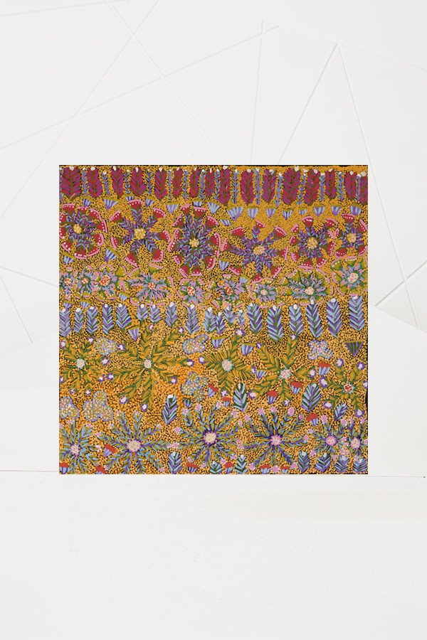 Ampilatwatja Artwork - Margaret Kemarre Ross - 61cm x 61cm - Bush Flowers and Bush Medicine Plants