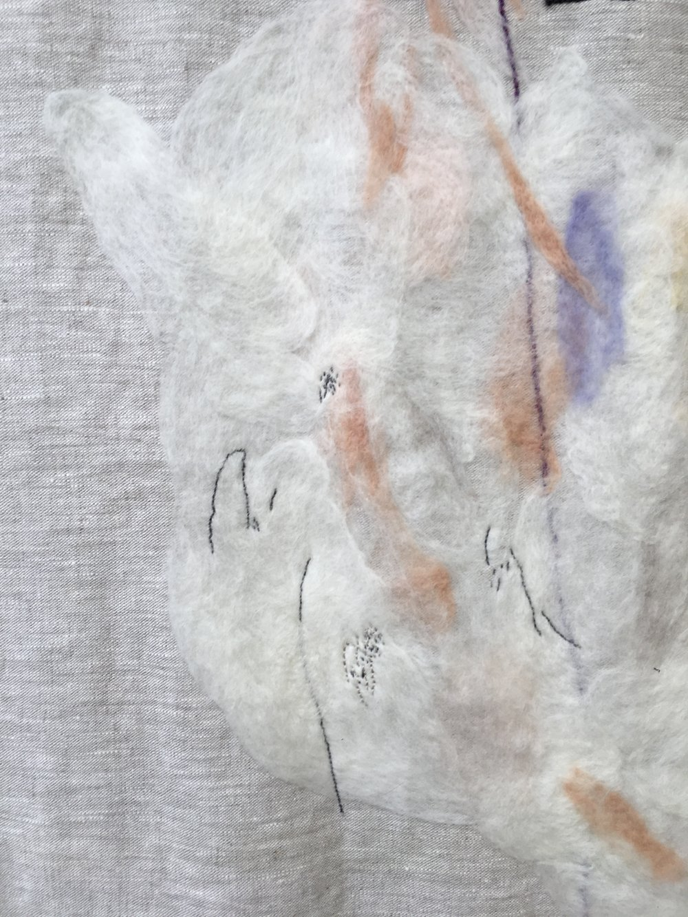 Lead me to the Holy Mountain  (detail), 2016. Embroidered and needle-felted wool on linen.