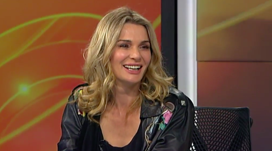WE'RE IN IT TOGETHER leather jacket worn by Danielle Cormack on Breakfast.