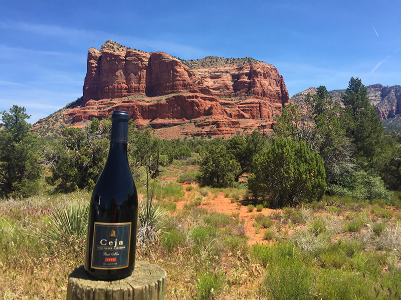 Bell Rock + my traveling gnome, Ceja Pinot Noir.