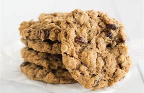 Oat and Raisin Cookies from Delia's Cakes (Hodder & Stoughton)  75g butter  1 large egg, beaten  200g oatmeal  110g wholemeal flour  1/2 tsp baking soda  1/2 tsp salt  159g raisins  stevia to taste  Melt the butter.  When cool, add the egg.  Mix in dry ingredients.  Form into small balls.  PLACE ON GREASED BAKING TRAY.  Bake at 180 C for 16-18 minutes.