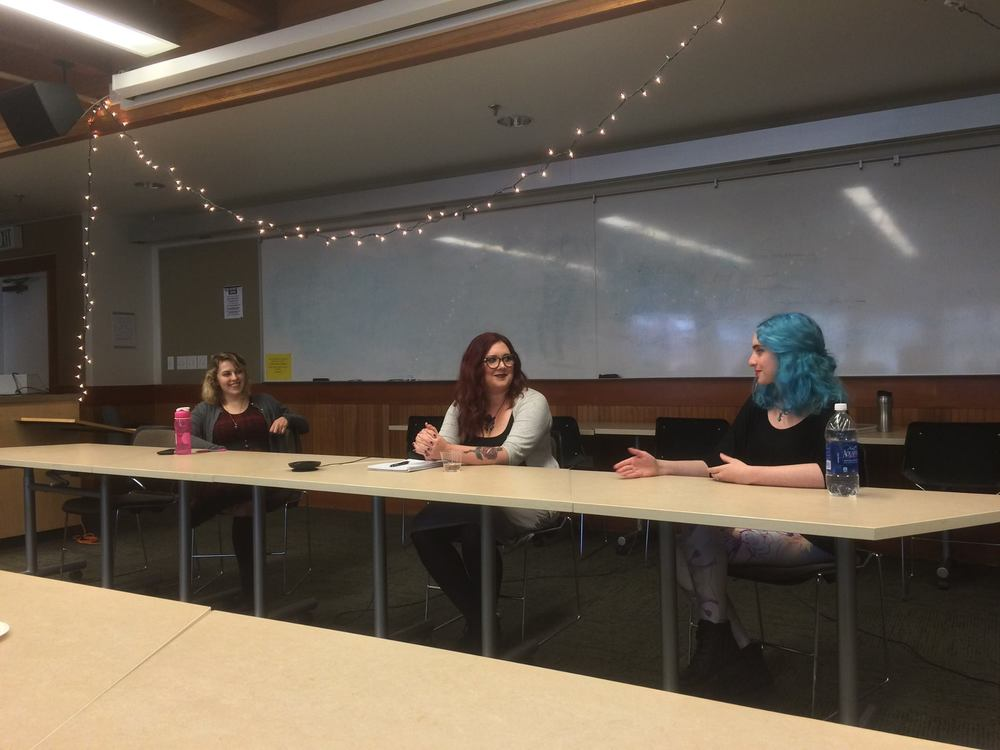 Co-President Ana Lind with Sarah Buck and Nina Freeman, during the 'Romance in Games' panel.