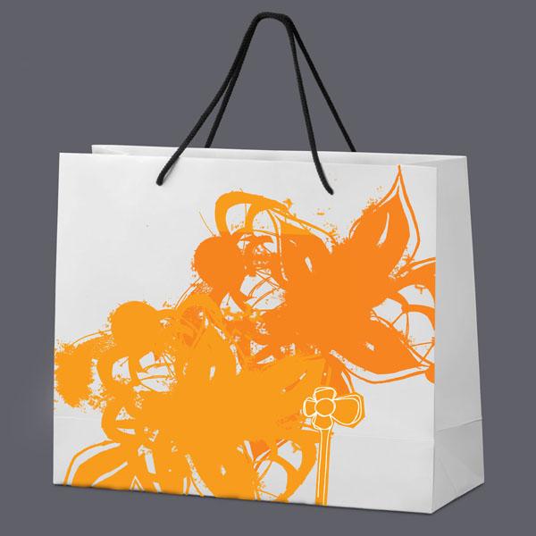 Carrier bag for a florist, designed by Gareth Lindsay