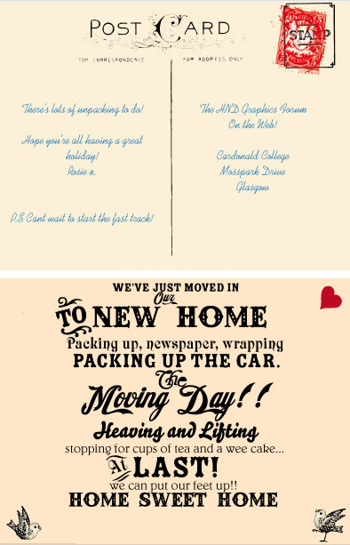 Front and back of postcard from Rosie Conlon (joining Fast Track)