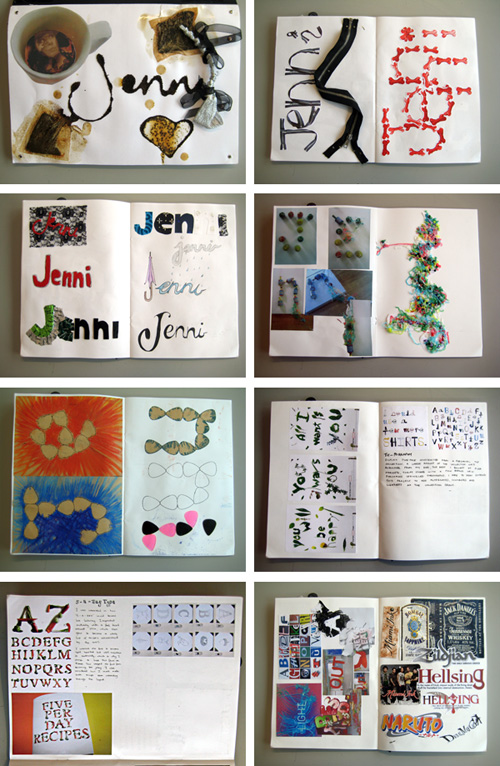 Typography sketchbook by Jenni McGinty