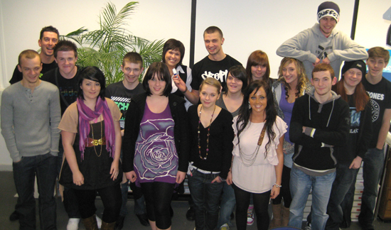 Kay (third from left) with NQ graphic design students