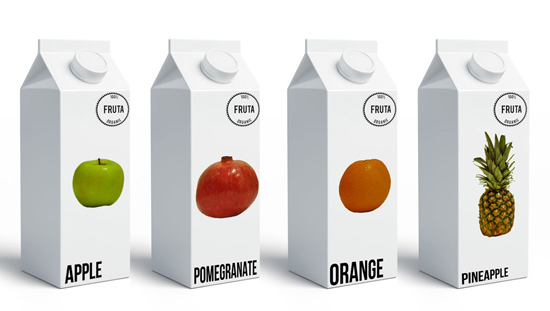 Packaging for fruit juice, by Alex Burrowes