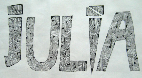 Hand lettered name by Julia Doogan