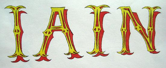 Hand lettered name by Iain Denham