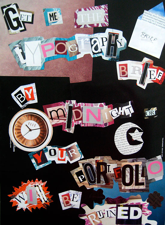 Typographic blackmail note by Kate Oakwood