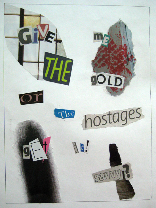 Another typographic blackmail note by Kenneth Reid