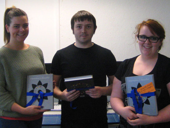 Left to right: Paula Whitelaw of 2A, Ryan Gallacher of 2B, Samantha Birrell of 2C