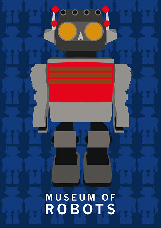Robot Museum vector poster by Mark Miller