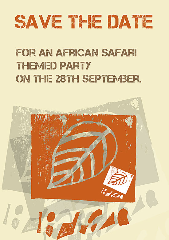 African Safari Party save the date by Connor Jennings