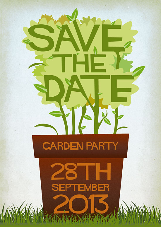 Garden Party save the date by Stuart Chalmers