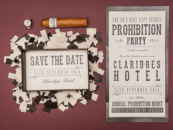 Prohibition Party save the date by Chris Newton